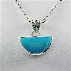 Natural Blue Turquiose Gemstone Sterling Silver Pendant