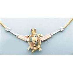 TURTLE DESIGN NECKLACE 17in. 21.2 grs 14kt 3tone Gold