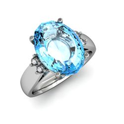 Topaz 8.80 ctw & Diamond Ring 14kt White Gold
