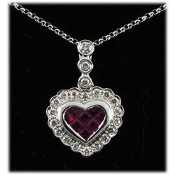 Genuine 0.98 ctw Ruby & Diamond Necklace 14kt W/G 4.45g
