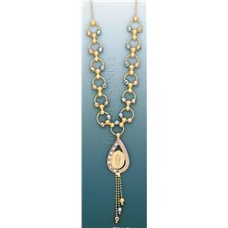 LIGHT FANCY Necklace 17in. 8.7 grs 14kt 3tone Gold w/ d