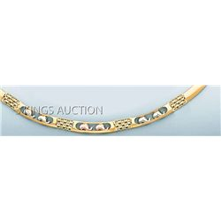 3 COLOR FANCY NECKLACE 17in. 18.4 grs 14kt 3tone Gold