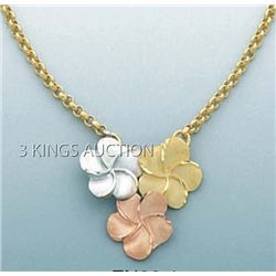 FANCY DESIGN Necklace 17in. 4.8 grs 14kt 3tone Gold