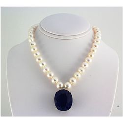 Pearl & Sapphire 87.56ctw Diamond Necklace 14kt W/G