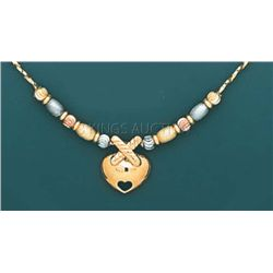 LIGHT FANCY-neckalce 17in. 5 grs 14kt 3tone Gold