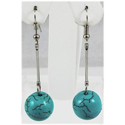 Natural 37.62ctw Round Turquoise Silver Earring