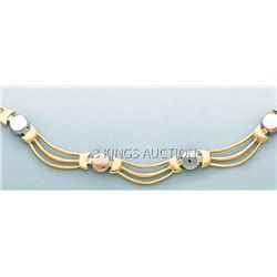 3 COLOR STAMPATO NECKLACE 17in. 16.2 grs 14kt 3tone Gol