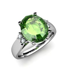 Tourmaline 5.25 ctw & Diamond Ring 14kt White Gold