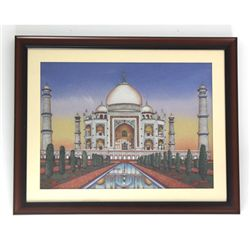 "30 1/2"" x 24 1/2"" Gemstone Painting of Taj Mahal"
