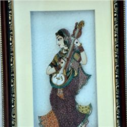 2D Lady Guitar Natural Gemstone Painting size 11in.x17i
