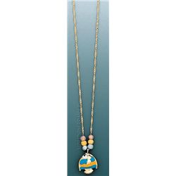 LIGHT FANCY Necklace 17in. 2 grs 14kt 3tone Gold w/ des