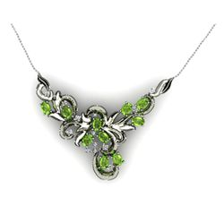 "Genuine 5.24 ctw Peridot Necklace 16.5"" 14k W/Y Gold"