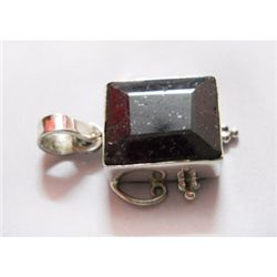 Natural 31.35 ctw Ruby Square Pendant .925 Sterling