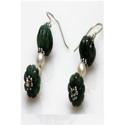 Natural 35.80ct Pearl,Emerald Earrings .925 Sterling