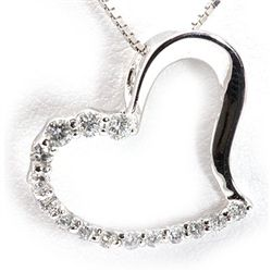 Genuine 0.19 ctw Diamond Heart Necklace 14K