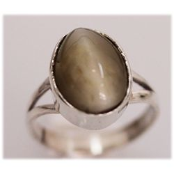 NATURAL 18.10 CTW CAT EYE OVAL RING .925 STERLING SILVE