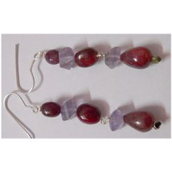Natural 38.05ct Tanzanite/Ruby Earring .925 Sterling