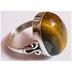 Natural 5.45g Tiger Oval .925 Sterling Silver Ring
