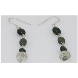NATURAL 17.00 CTW EMERALD SEMIPRECIOUS EARRINGS .925 ST