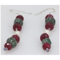 NATURAL 42.50 CTW PEARL, EMERALD, RUBY EARRINGS .925 ST