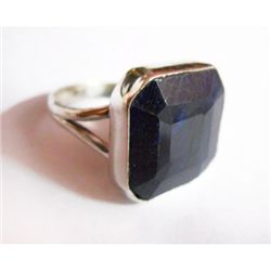 Natural 29.30 ctw Sapphire Square Ring .925 Sterling