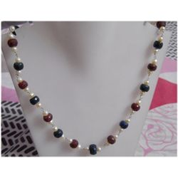 Natural 194.75ct Sapphire/Ruby/Pearl Necklace .925 Ster