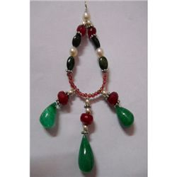 Natural 56.80ct Pearl,Ruby,Emerald,Semi Precious Pendan