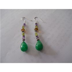 41.05 ctw Emerald and Semi Precious Earrings .925 Sterl