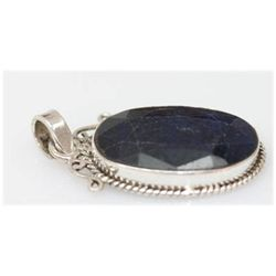 Natural 37.39 Ctw Sapphire Oval Pendant .925 Sterling