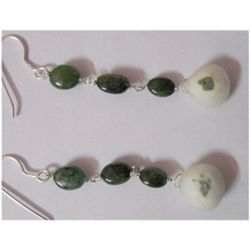 Natural 19.35ct Emerald Earring .925 Sterling