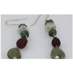 NATURAL 40.20 CTW EMERALD, RUBY SEMIPRECIOUS EARRINGS .