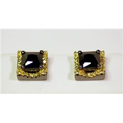 Lady's Fancy Sterling Silver Black & White Diamond Earrings