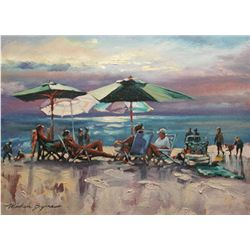 Michele Byrne, Beachside Chat, Signed Canvas Print
