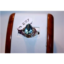 Lady's Beautiful 14 kt White Gold Pear Shape Topaz Ring