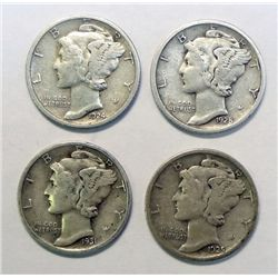 4 Scarce Date D Mint Mercury Dimes