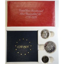 1976 U.S. MINT PROOF AND UNCIRCULATED  40% 3 PIECE SETS