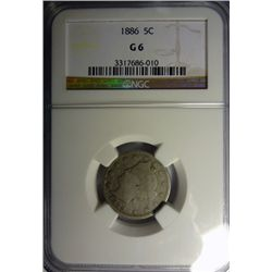 1886 LIBERTY NICKEL NGC G-VG 6