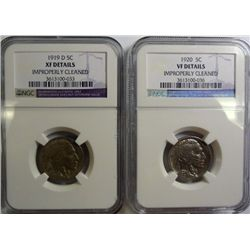 1919-D BUFFALO NICKEL NGC XF CLEANED, AND A 1920 VF NGC NICKEL!