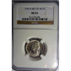 1939-D REVERSE OF 40 JEFFERSON NICKEL NGC MS65