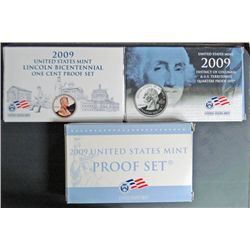 2009 U.S. CLAD PROOF SETS, LINCOLN CENTS D.C. & TERRITORIES QUARTERS, 09 18 PIEC