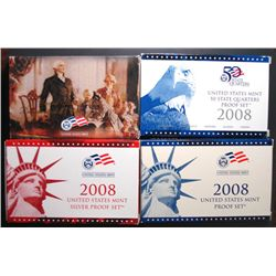 2008 U.S. PRESIDENT, QUARTER, SILVER AND 18 PIECE CLAD PROOF SETS