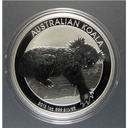 2012 AUSTRALIAN ONE DOLLAR KOALA, ONE OUNCE .999 SILVER BEAUTIFUL COIN