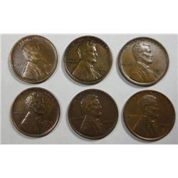 6 1915D scarce date Lincoln pennys  2  VF- 3 XF- 1 AU