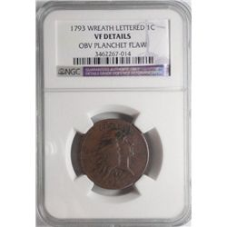 1793 lettered edge wreath large penny  NGC VF planchet flaw