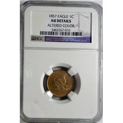 1858  Flying Eagle penny NGC  AU  altered color
