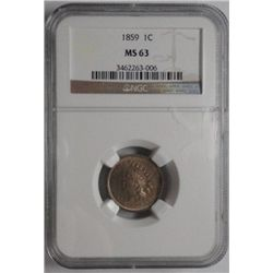1859 Indian  penny NGC   MS63