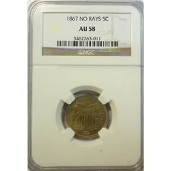 1867 no rays  shield nickel  NGC58