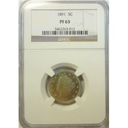 1891  proof V nickel  NGC PF63