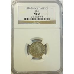 1828  sm dt dime  jr-1  NGC 55  VERY SCARCE