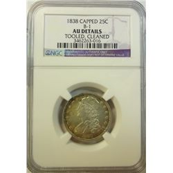 1838 Bust quarter B-1  NGC AU clnd tooled   AU GS bid = $640